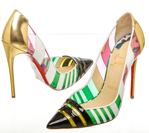 Christian Louboutin Multicolor Leather and PVC Bandy Pump (Size 38.5)