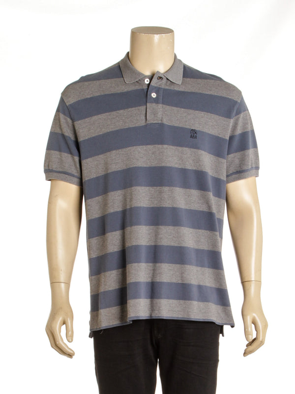 Bruno Cucinelli Striped Mens Grey Blue Polo ( Size XXL)