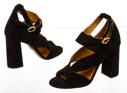 Chloe Black Suede Cutout Block Heel Sandals (Size 38)