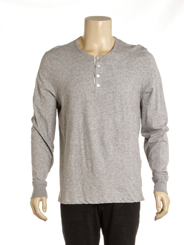 Men's Tom Ford Heathered Gray Long Sleeve Henley ( Size 56)