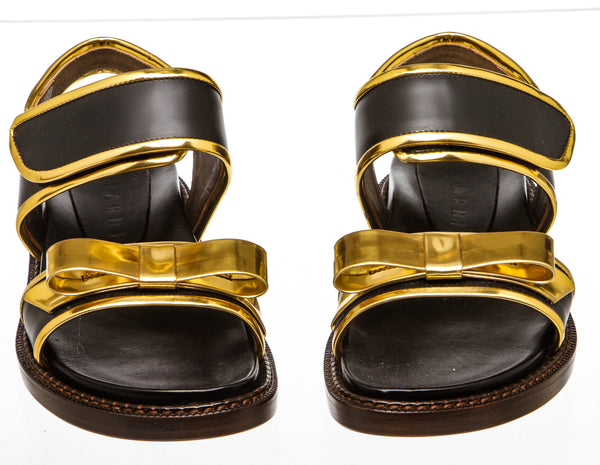 Marni Black Calfskin Leather 'Fussbett' Sandals (Size 37)