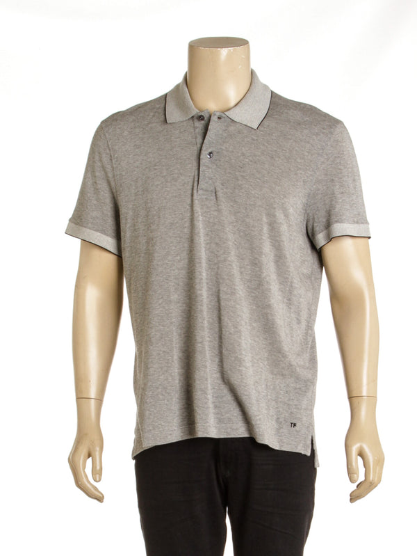 Men's Tom Ford Gray Knit Polo Shirt ( Size 56)
