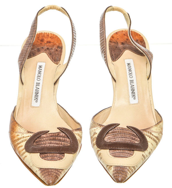 Manolo Blahnik Brown Lizard Slingback Pump (Size 38.5)