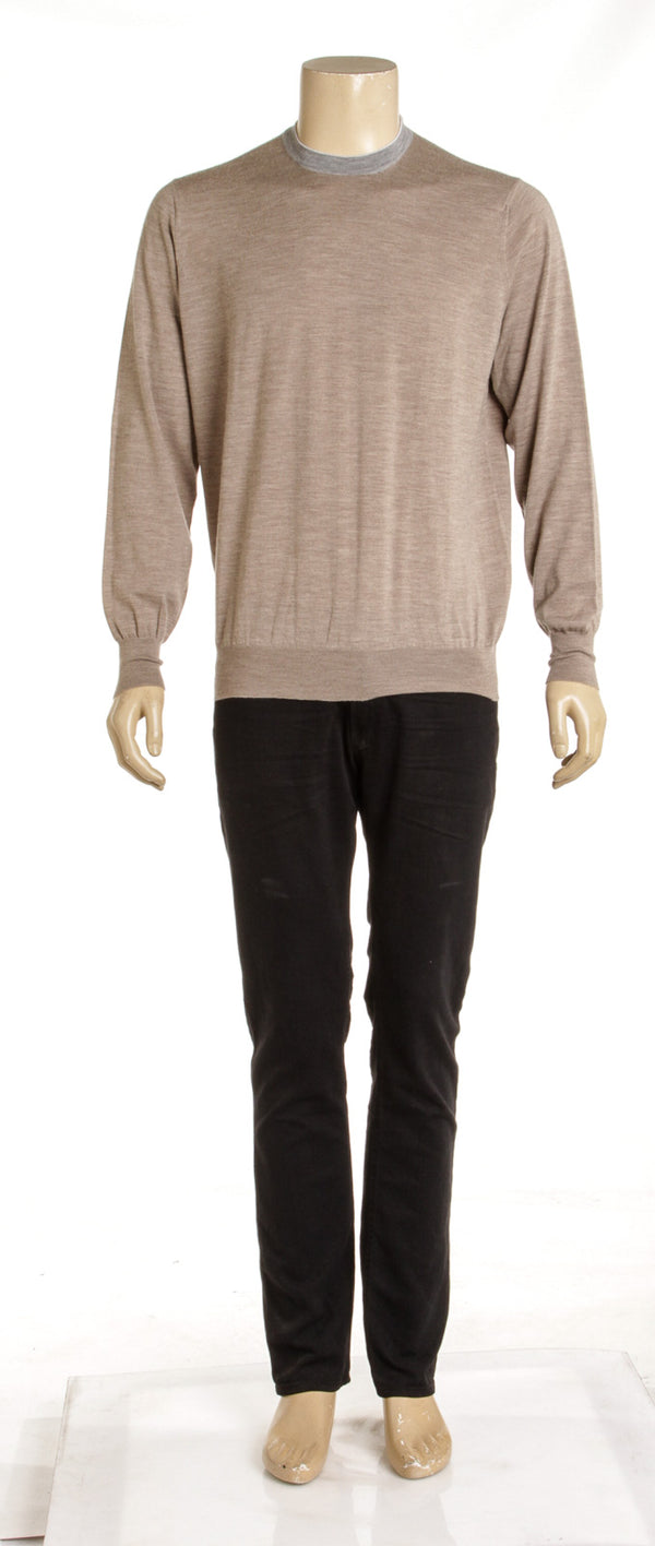 Mens's Brunello Cucinelli for Bergdorfs Tan and Grey Striped Cashmere Sweater (54)