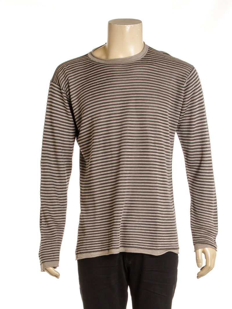 Men's Armani Collezioni Tan and Gray Striped Sweater( XL)