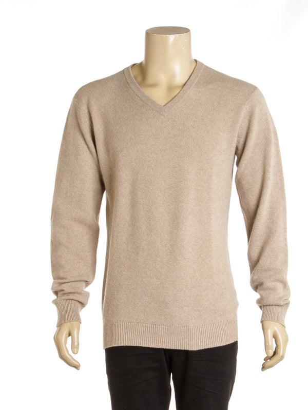 Men's Armani Collezioni Beige V Neck Sweater (Size L)