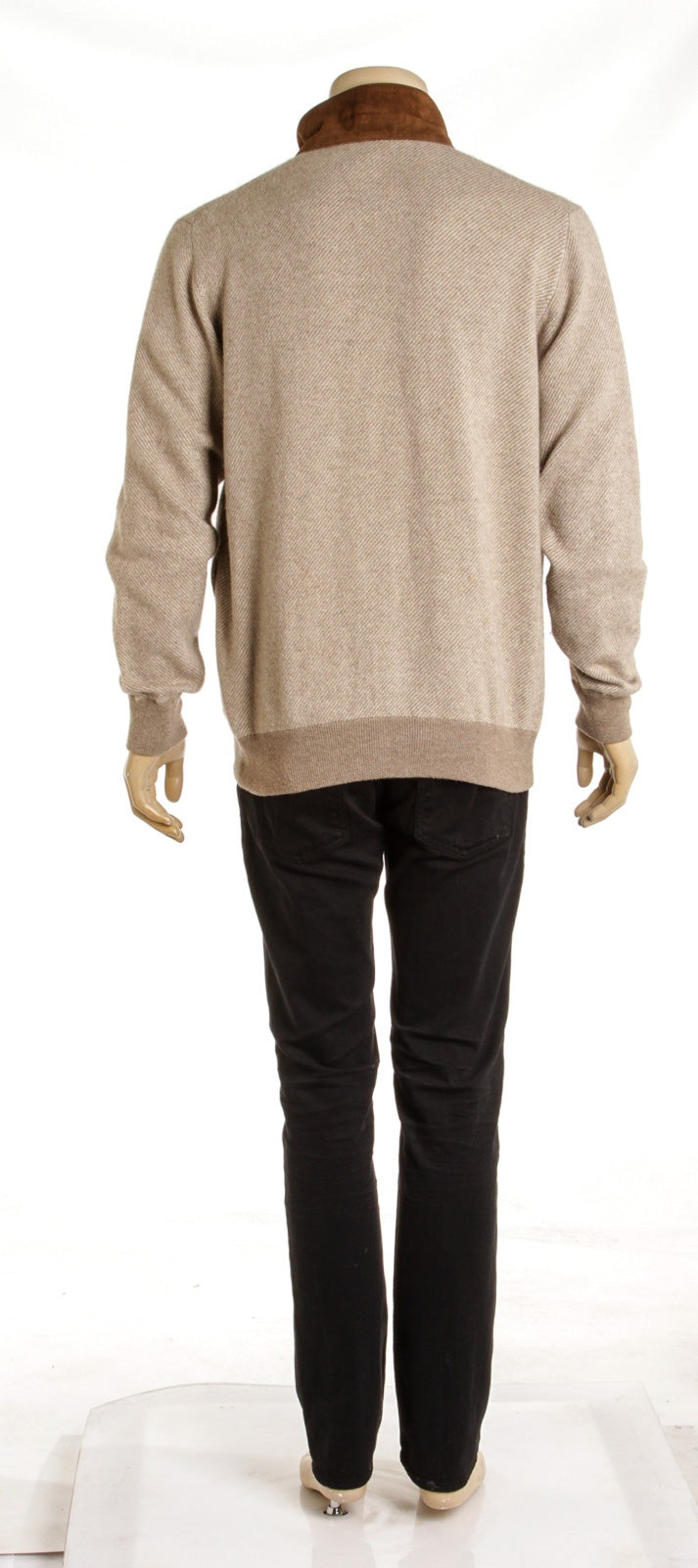 Men's Loro Piana Tan Cashmere and Suede Pull Sweater (Size M)