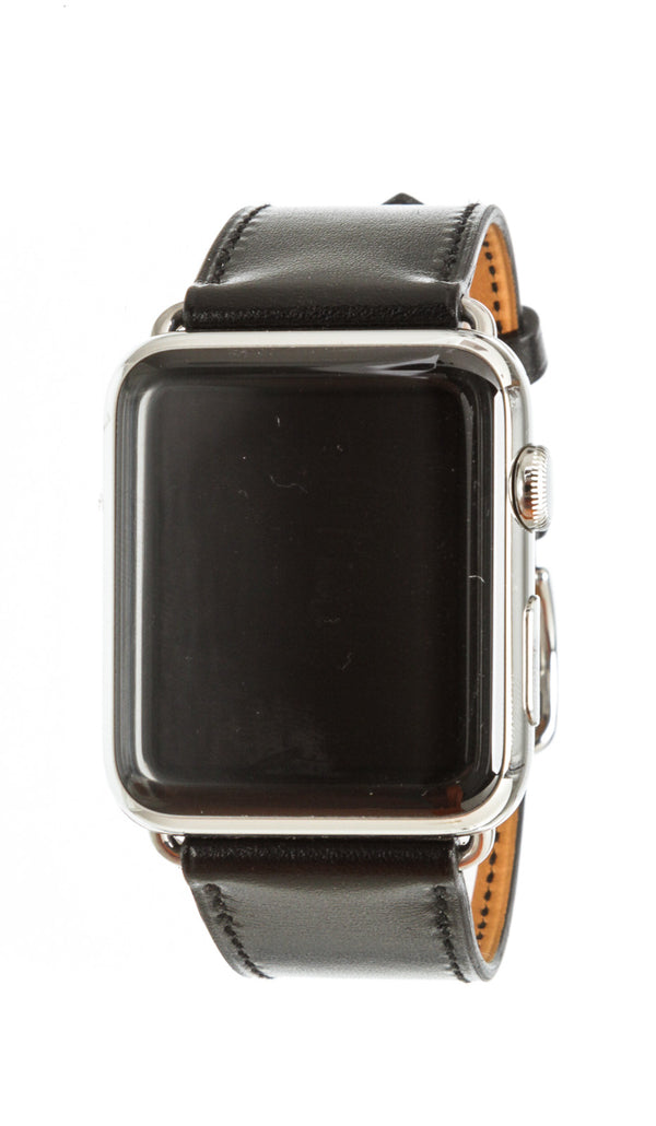 Hermes Black Leather Stainless Steel Silicone 42mm Series 3 Apple Watch SHW