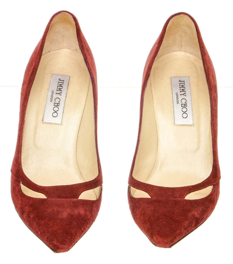 Jimmy Choo Burgundy Suede Leather Pump (Size 38.5)