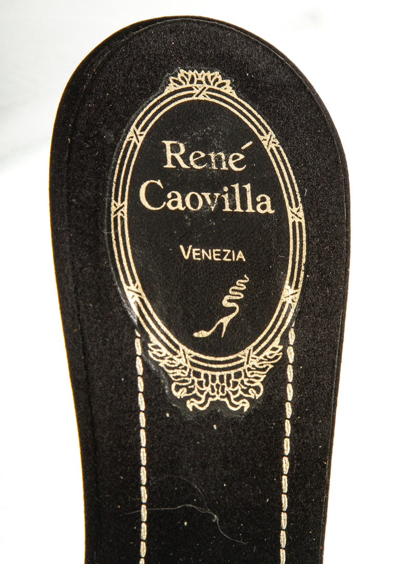 Rene Caovilla Black Satin Embellished Sandals (Size 38.5)