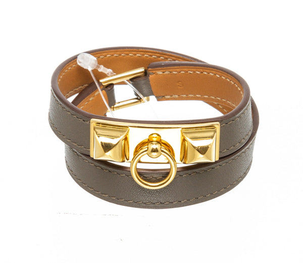 Hermes Etoupe Swift Leather Rivale Double Tour Wrap Bracelet GHW