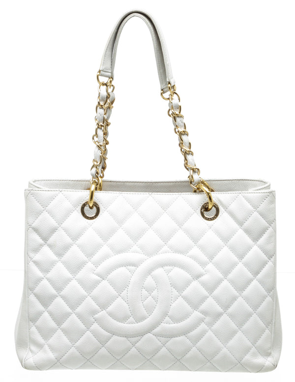 Chanel White Caviar GST Shopping Tote