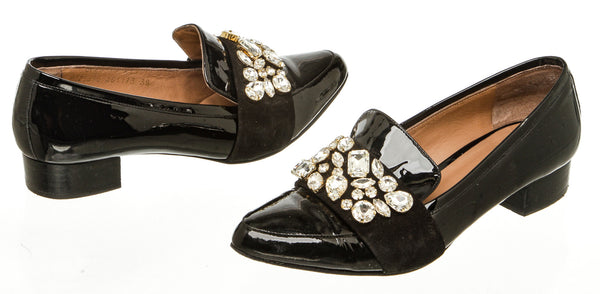 Escada Black Patent Embellished Loafers (Size 38)