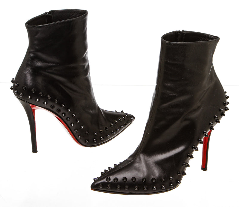 Christian Louboutin Black Leather 'Willetta' Spiked Bootie (Size 38.5)