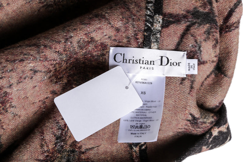 Christian Dior Black And Gray Wool Blend Scarf Jacket Size 4