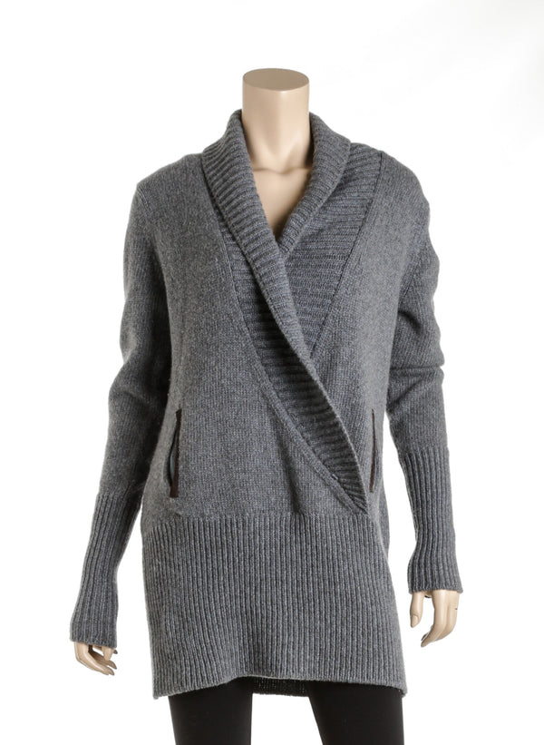 Loro Piana Gray Cashmere Ribbed Collar Wrap Sweater Size 46
