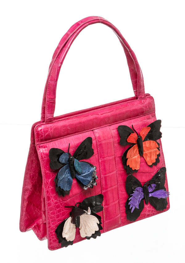 Nancy Gonzalez Mini Pink Crocodile Bag