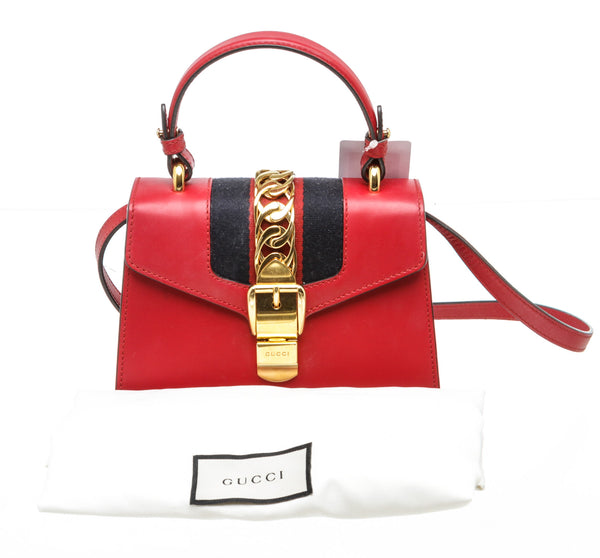 Gucci Leather Hibiscus Red Sylvie Small Shoulder Bag