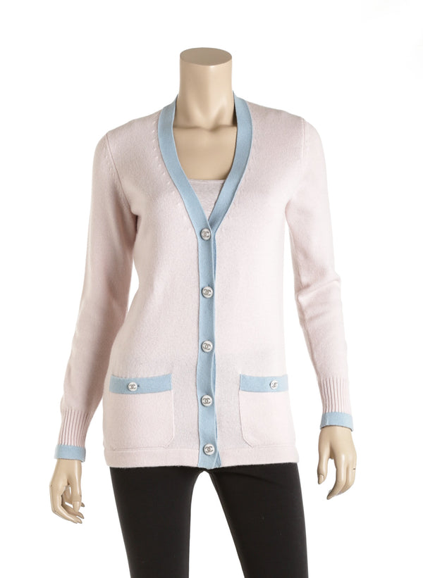 Chanel Pink And Blue Trim Cashmere Cardigan Size 34