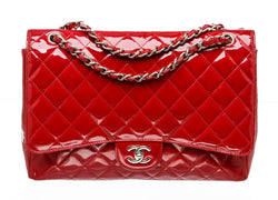 Chanel Red Patent Quilted Maxi Single Flap