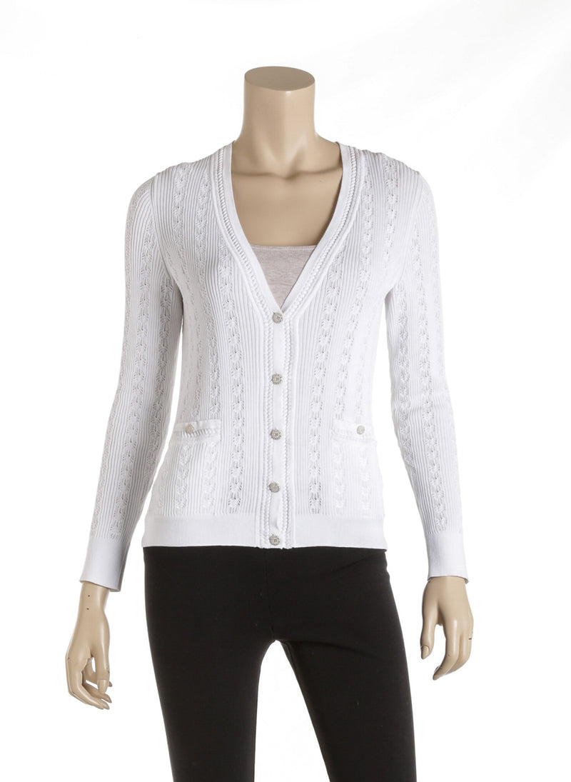 Chanel White Cotton Knit V-Neck Cardigan Size 36