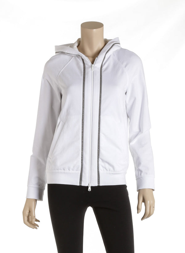 Brunello Cucinelli White Cotton Zip Up Hoodie Size XS