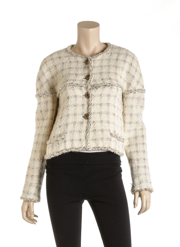 Chanel Sample Cream Tweed Chain Cream Plaid Cc Buttons Size 38