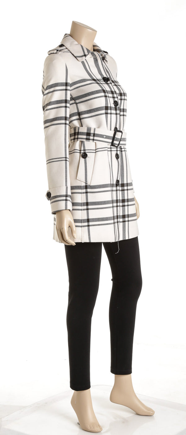 Burberry Cream And Black Plaid Wool Blend Belted Coat Size 2