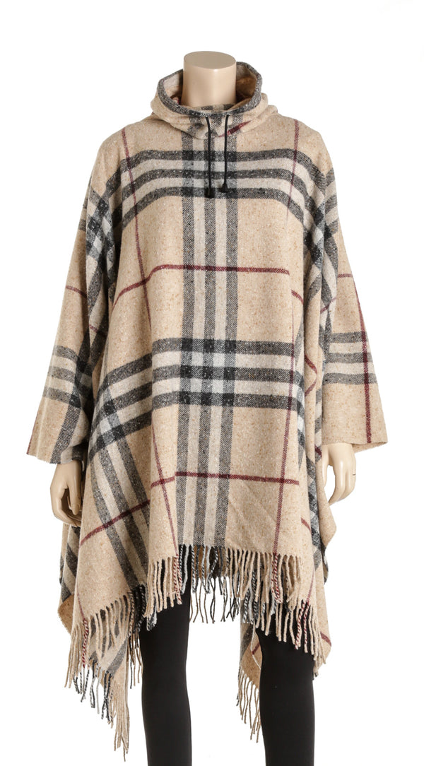 Burberry Cream Black And Red Wool Checkered Turtleneck Poncho Size OS