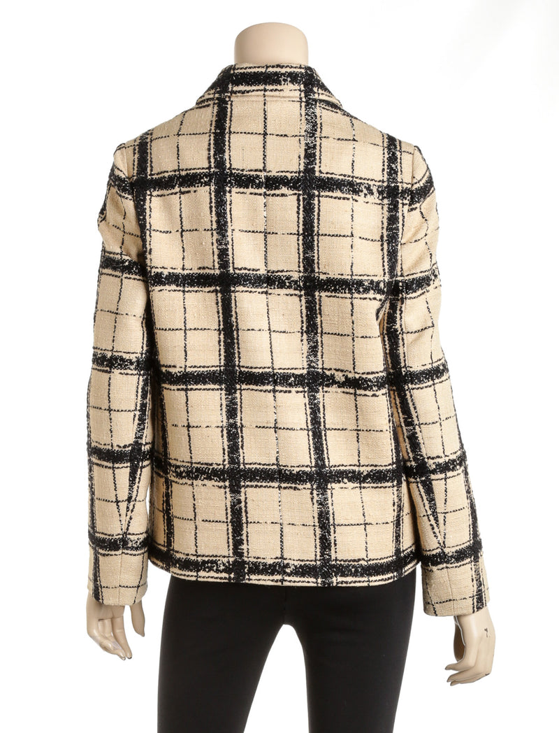 Christian Dior Black And Tan Wool And Silk Blend Plaid Blazer Size 40