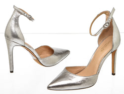 Rachel Zoe Silver Crackled Leather 'Hayworth' Ankle Strap Pumps (Size 8.5)