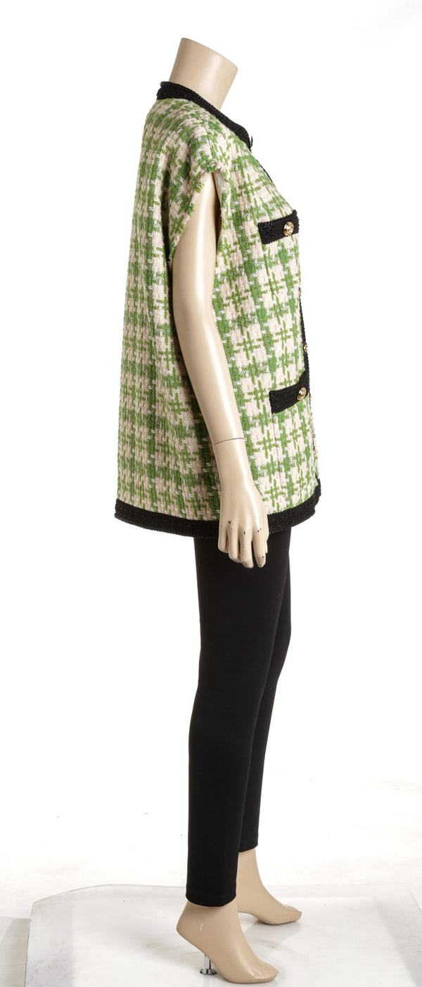 Gucci Green Cream And Black Houndstooth Gilet Vest NEW Size 42
