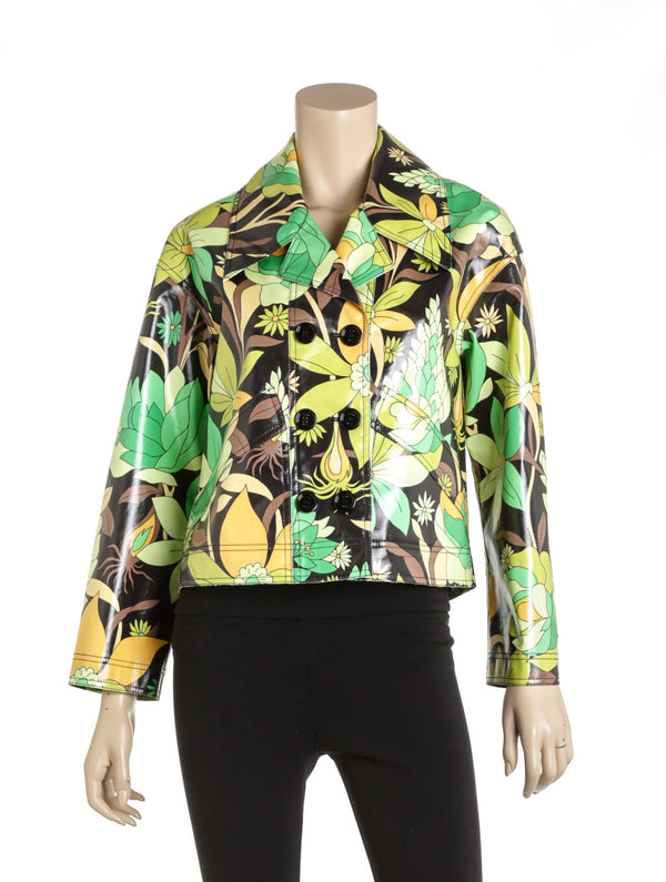 Fendi Multi-color Floral Coated-Cotton Jacket Size 36