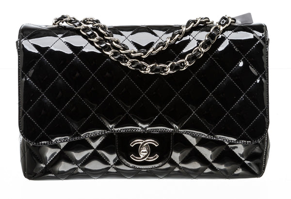 Chanel Classic Black Patent Single Flap Jumbo Shoulder Bag