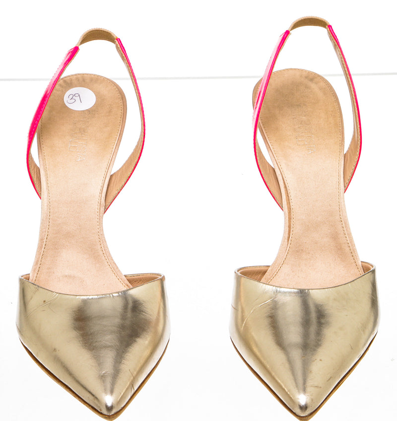 Giambattista Valli Metallic Gold  Leather Slingback Pumps (Size 39)