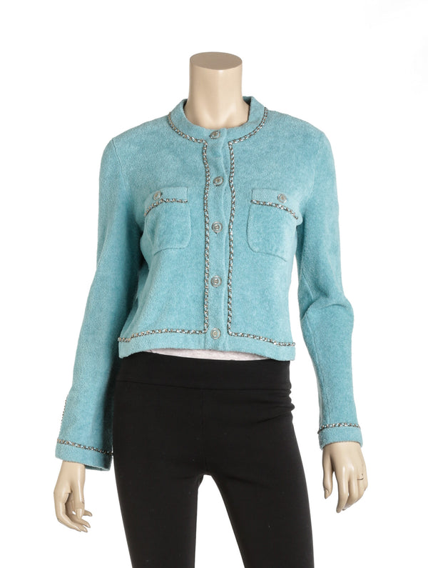 Chanel Sky Blue Turquoise Jacket Cardigan With Leather Chain SHW Size 40