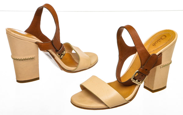 Chloe Ivory and Tan Bicolor Ankle-Wrap Sandal (Size 37)