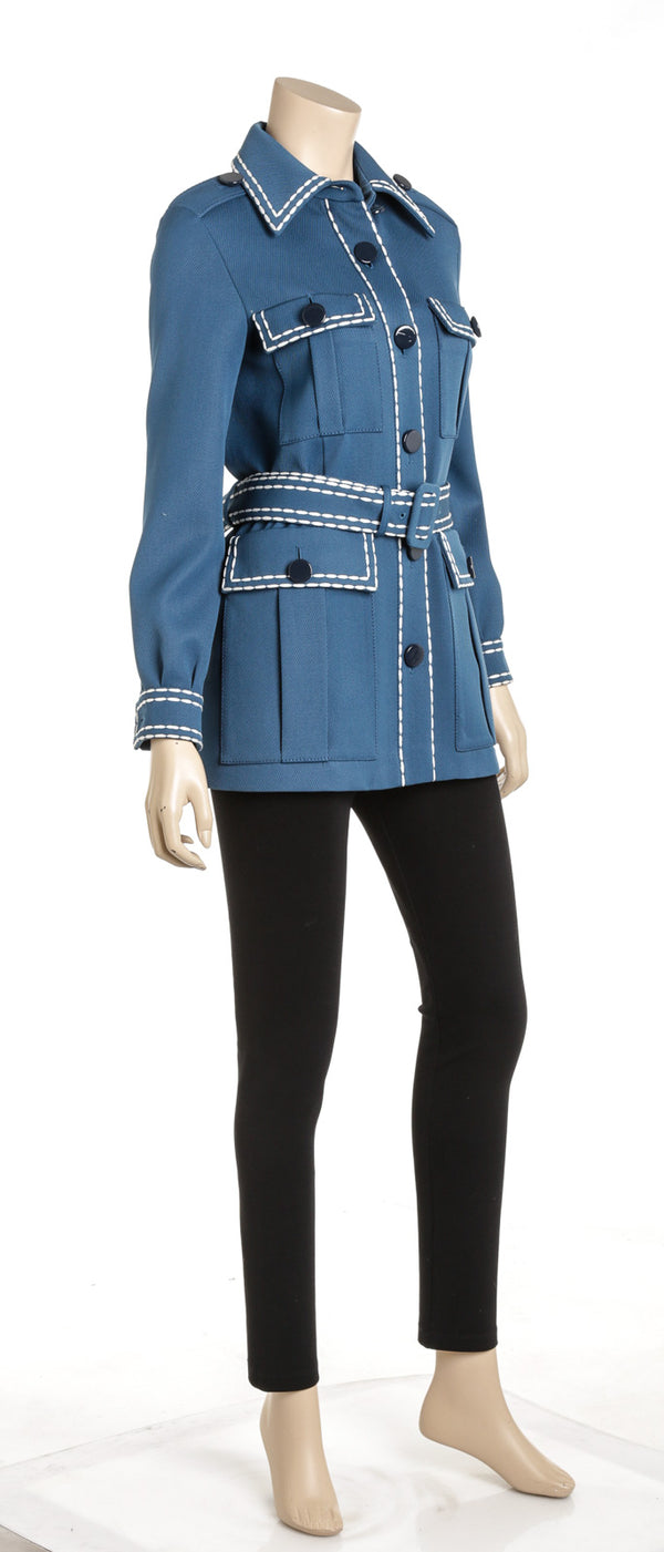 Fendi Blue Wool Safari Gabardine Jacket Size 36