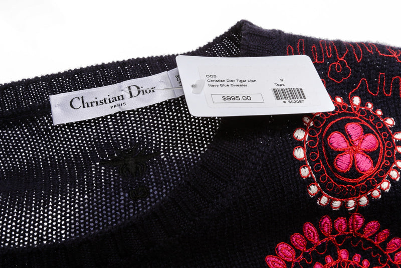 Christian Dior Navy Blue And Red Wool Tiger Lion Sweater Size 44
