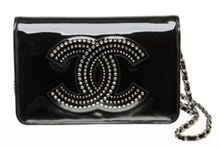 Chanel Strass Crystal CC Patent Wallet on Chain