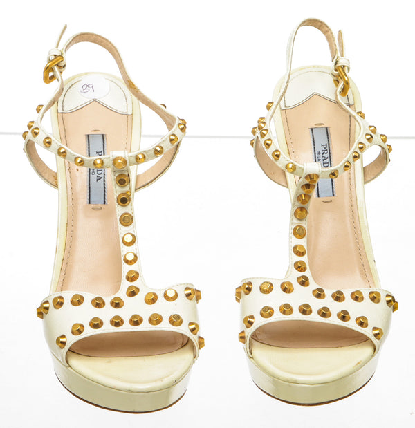 Prada Cream Glazed Leather Studded T-Strap Platform Sandals (Size 39)