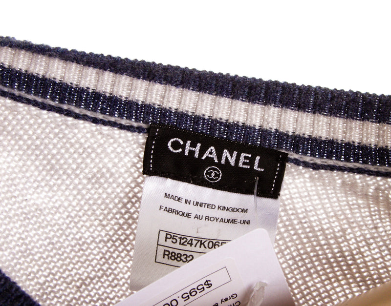 Chanel Blue and Grey Cashmere Sweater (Size 36)