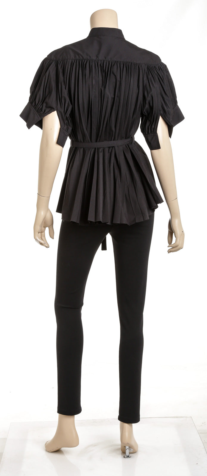Proenza Schouler Black Pleated Poplin Short-Sleeve Blouse Size 4
