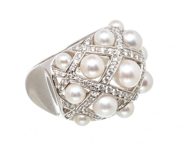 Chanel 18K White Gold Pearl Diamond Perles Matelassé Baroque Ring Size 6