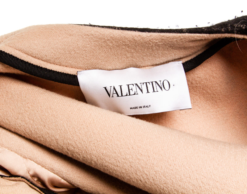 Valentino Black and Nude Wool Coat (Size 6)