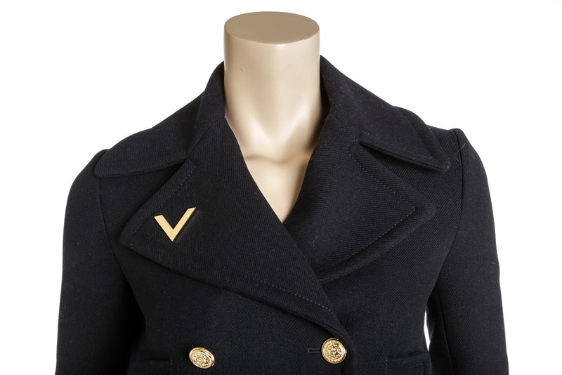 Valentino Navy Blue Wool V-detail Double-Breasted Peacoat Size 2