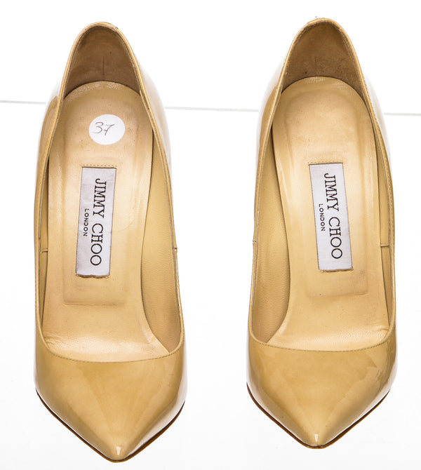 Jimmy Choo Nude Patent Leather 'Anouk' Pump (Size 37)