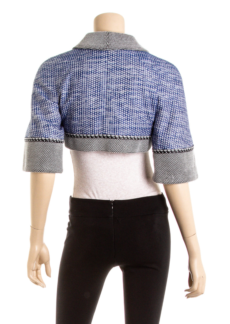 Chanel Blue Woven Bolero Jacket (Size 34)