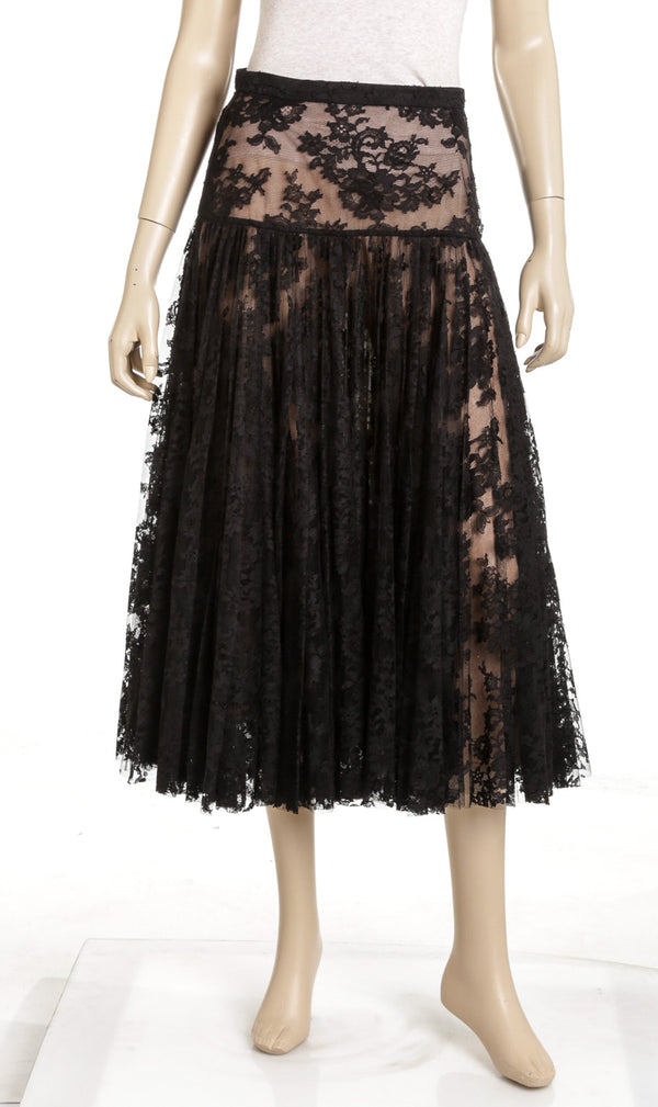 Chanel Black Lace Pleaded Maxi Skirt NEW Size 38