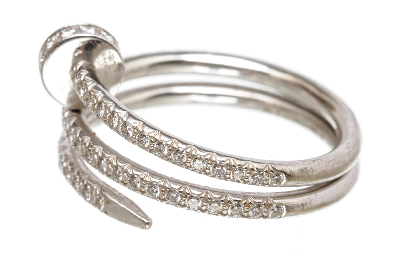 Cartier 18K White Gold and Pave Diamond Juste un Clou Wrap Ring Size 7